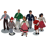 Old Doll Miniature Dollhouse Doll Set Cloth Dolls Sweet Large Family!