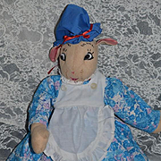 Vintage Doll Rabbit Stuffed Mrs. Rabbit Dressed