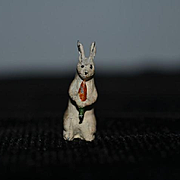 Old Miniature Peter Rabbit Cold Painted Metal Dollhouse Figurine W/ Carrot Doll Friend