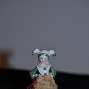 Old Doll China Head Jester Half Doll Pincushion Miniature Dollhouse Pin Cushion