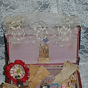 Antique Doll Trunk Filled W/ Doll Accessories Gloves Purse Pincushion Cameo Necklaces W/ Old Label Henry G. Haedrich Fashion Doll