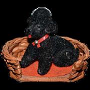 Vintage Doll Miniature Dog in Dog Basket Dollhouse Poodle Wood Dog Bed German