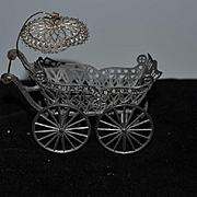 Antique Doll Miniature Wire Metal Carriage Pram Stroller Dollhouse