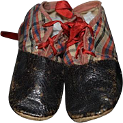 Antique Doll Child's Leather Shoes w/ Plaid Unusual Fancy