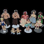 Vintage Doll Miniature Dollhouse Rubber Dolls Dressed HUGE LOT