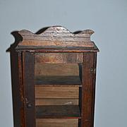 Old Doll Miniature Cabinet Wardrobe Wood W/ Glass Door & Shelves Fashion Doll Size