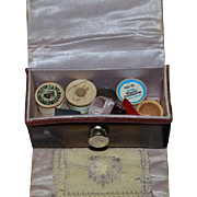 Old Miniature Leather Roll Out Sewing Kit Thimbles Thread Sew Case For Doll