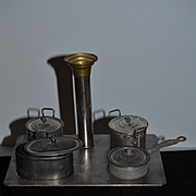 Old Doll Size Miniature Tin Stove Working W/ Pots and Pans
