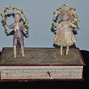 Antique Rare Doll Mechanical Wind up Dancing Dolls Children Bisque Wonderful Two Dolls