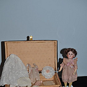Antique Doll Bisque W/ Doll Trunk and Clothes Unusual Doll Miniature W/ Wardrobe Closed Mouth French Doll