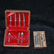 Vintage Miniature Doll Silverware Box W/ Silverware Case wood Box Dollhouse MINTOY Sweet Flatware