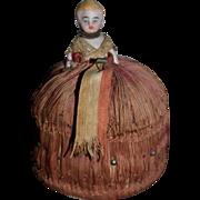 Antique Doll Miniature Bisque Pincushion Dollhouse Fancy Sweet
