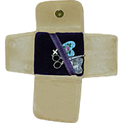 Old Miniature Pouch For Doll W/ Scissors Cross Enamel Heart and Old Photograph Treasure for your Fashion Doll