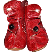 Old Doll Shoes Boots Red Soft Leather Button Up Sweet!!