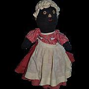 Old Doll Black Cloth Doll Rag Doll Folk Art Sewn Features Stockinette