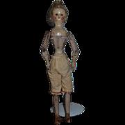 Wonderful Wood Doll Glass Eyes Jointed Pegged Unusual