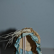 Wonderful Old Doll Bonnet Hat Silk and Straw Faux Pearls Fancy