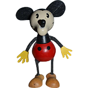 Vintage Doll Mickey Mouse Schylling Wood Miniature