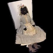 Antique Doll Black Cloth Doll Rag Doll Folk Art Unusual Sewn Features