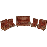 Antique Doll Miniature Dollhouse Furniture Upholstered W/ Lion Heads Sofa Chairs Ornate Fringe