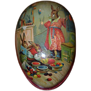 Vintage German Candy Container Easter Egg Mrs. Rabbit & Bunnies Coloring Easter Eggs Doll Display Item