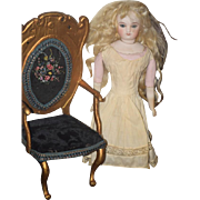 Antique Wood Gilt Painted French Fashion Doll Chair Fancy Needle Work Fancy