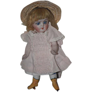 Antique Doll Miniature Dollhouse Yellow Boots French Loop Swivel Head French Market Dressed SWEET!