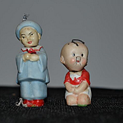 Old All Bisque Doll Set Oriental Miniature Nodders Dollhouse German