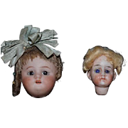 Old Miniature Bisque Head Doll Dolls Wall Hanging Dollhouse Miniature Doll Heads OR Christmas Tree Ornaments Doll Size