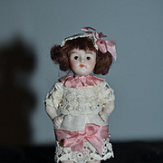 Antique Doll Miniature All Bisque Jointed Glass Eyes Dressed Dollhouse