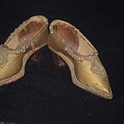 Antique Doll Unusual Shoes Wood Bottom Beaded Heels Fancy