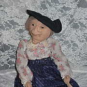 Vintage Large Cloth Stockinette Artist Doll Barbara Johansen Newman Character Doll Signed Dated