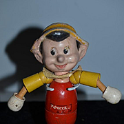Old Wood Doll Pinocchio Jointed Composition Head IDEAL