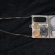 Old Miniature Purse W/ Powder Puff & Perfume Accessories Metal Purse on Chain Doll Size Sweet
