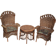 Miniature Dollhouse Doll Furniture Wicker Chairs and Table