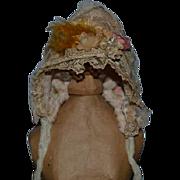 Antique Doll Lace Bonnet Flowers Charming Hat Petite