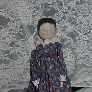 Old Wood Pegged Doll W/ Provenance