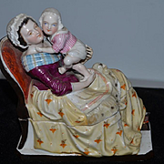 Antique Doll Mother and Child Early Inkwell Porcelain Figurine Wonderful