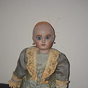 Sweet Drop Waist Doll Dress with Lace Trim and Bow Fancy For French Doll W/ Undergarments
