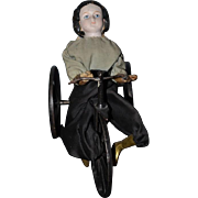 Antique Doll Papier Mache Velocipede Wind Up Toy Mechanical Girl On Bike 1870