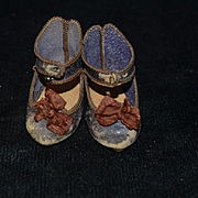 Antique Doll French Leather Bow BeBe Jumeau Depose Shoes 7