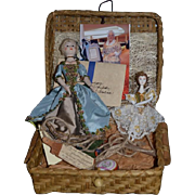 Wonderful Sandra Wright Justiss Wood Doll UFDC W/ Original Case and Letter And Picture Wicker Box Artist Doll