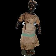 Unusual Cloth Leather Doll Folk Art Black Doll