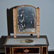 Antique Doll Chest Miniature Vanity Gilt Accents Faux Tortoise Finish For Mignonette