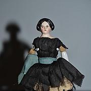 Antique Doll Miniature China Head A. W FR Kister Dollhouse Fancy Hair Style Coiled Bun