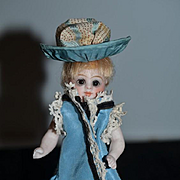 Antique Doll All Bisque Mignonette Miniature All Bisque W/ Miniature Dome Trunk and Lots of Doll Clothes French Market