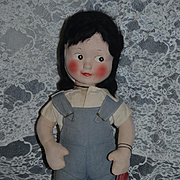 Vintage Cloth Doll W/ Tag Annie Rooney Mask Face