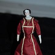 Antique Doll Miniature China Head Dollhouse Fancy w/ Wonderful Dress