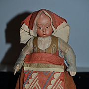 Old Doll Character Wonderful Expression Cloth Doll Painted Bisque Felt Clothes Character