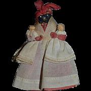 Old Miniature Nut Doll Cloth Doll Holding Babies Dollhouse Half doll Black Doll